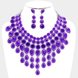 Elegant Purple Crystal Choker Necklace Set